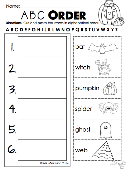 October Printables First Grade Literacy Math And Science Abc Order First Grade Reading First Grade