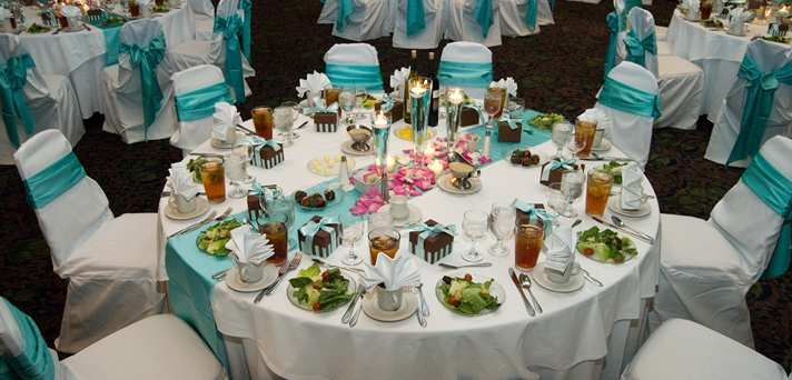 Embassy Suites Montgomery - Hotel & Conference Center, Al - Wedding Reception Blue Decorations
