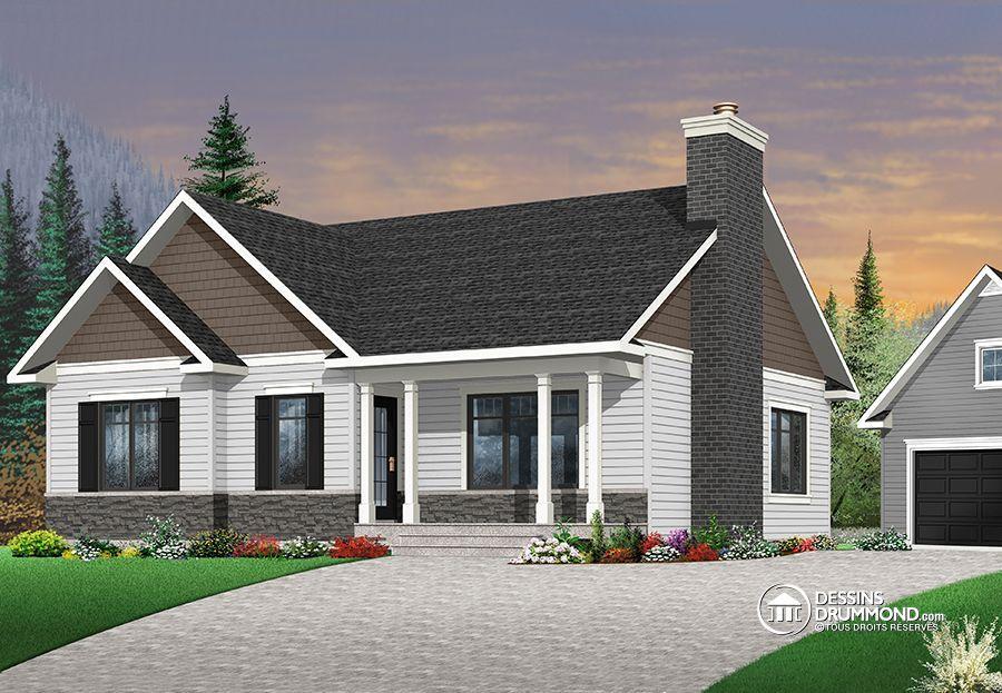 W3147-V3 - Modèle de bungalow avec 3 chambres, cuisine avec grand - modele de construction maison