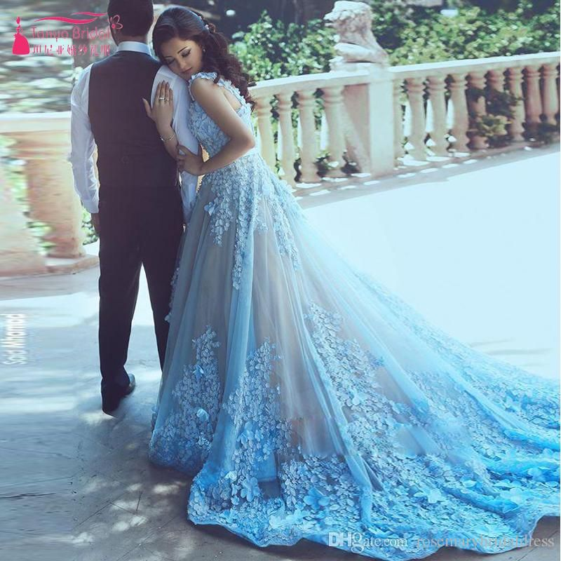 Sky Blue Lace Prom Dresses V Neck Flower African Bridal Dresses