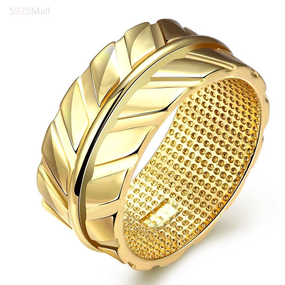 Engraving big wide gold-color Plant design Plain Band finger rings ...