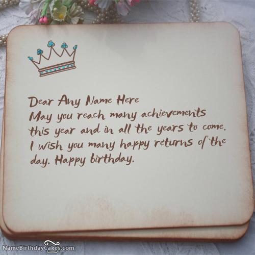 Write Name On Royal Birthday Wish Happy Birthday Wishes Happy Birthday Wishes Cards Birthday Wishes With Name Happy Birthday Wishes Images