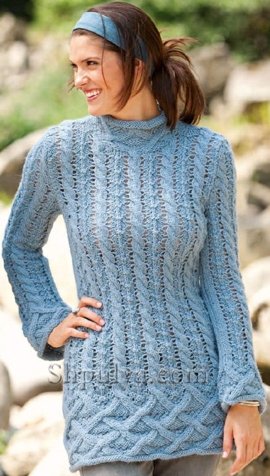 www.SHPULYA.com - Удлиненный пуловер с узором из кос   Sweter, Cable ...