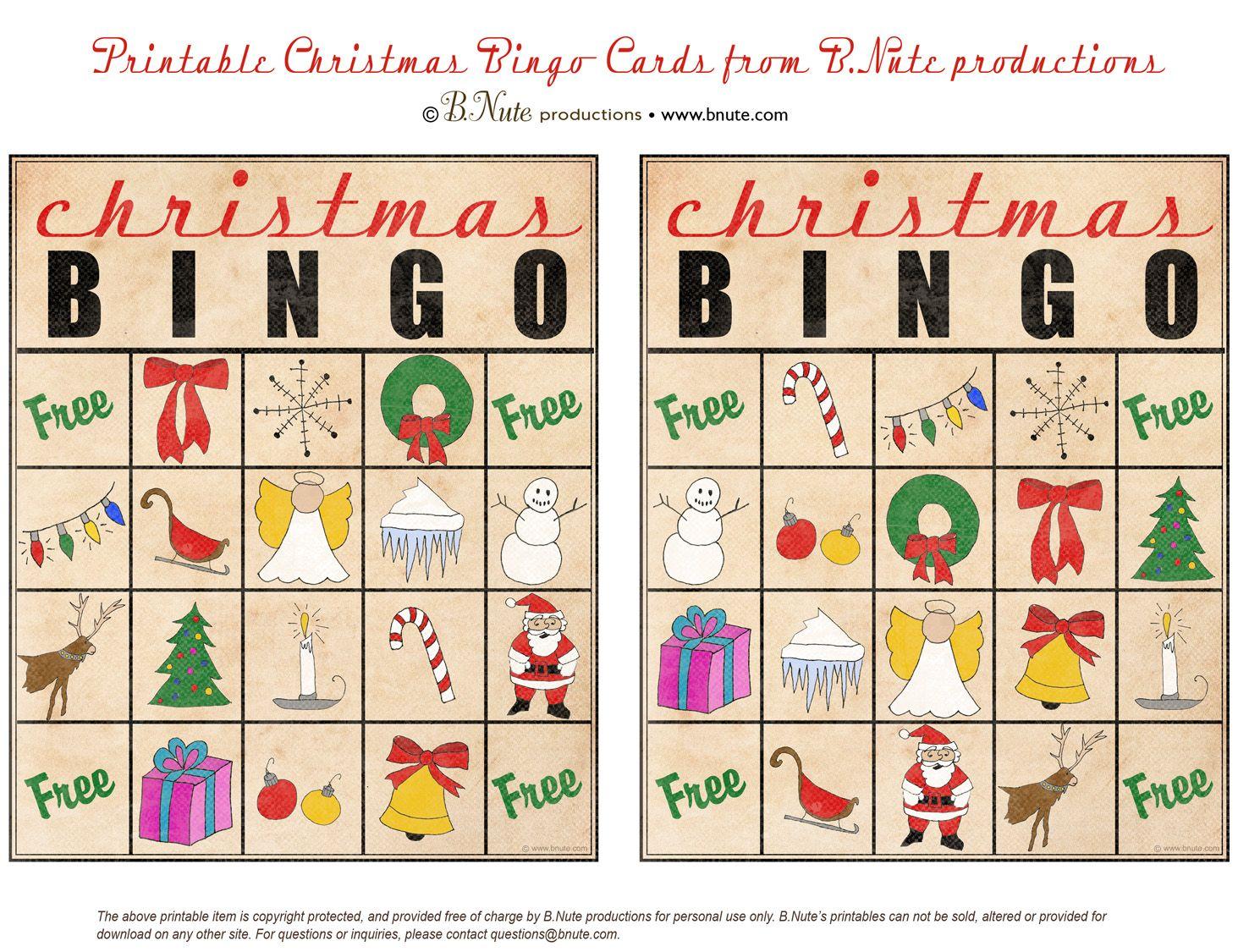 Christmas printables images | Free Printable Christmas Bingo Cards ...