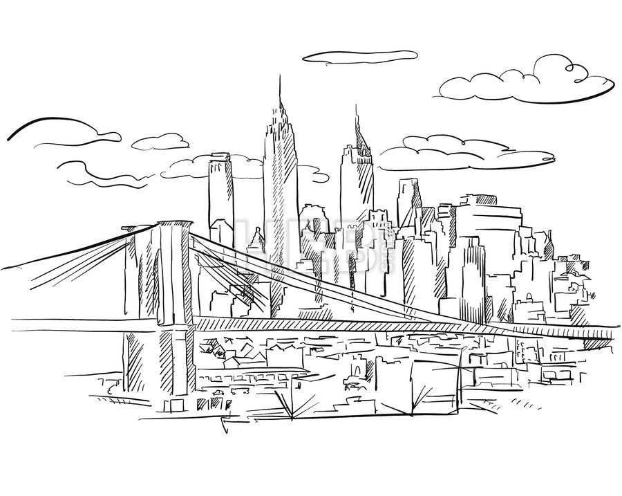 Manhattan And Brooklyn Bridge Detailed Sketch Hebstreits Maps And Sketches City Drawing Bridge Drawing Nyc Drawing