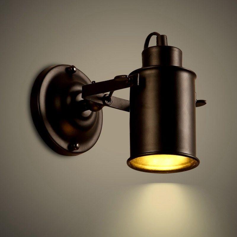 adessy industrial loft black metal 1 light led spot light wall sconce indoor sconces wall. Black Bedroom Furniture Sets. Home Design Ideas
