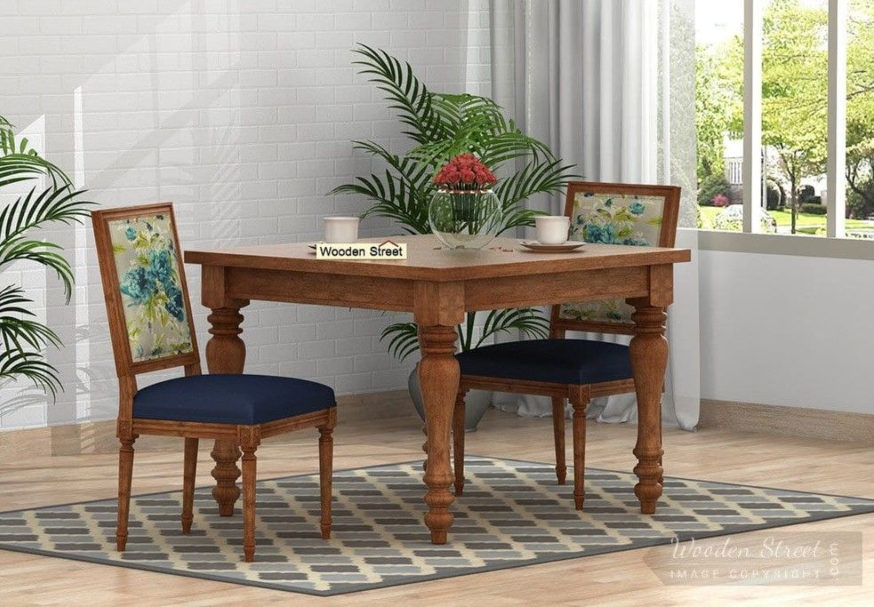 Buy Bonita 2 Seater Printed Dining Set Teal Tulip Natural Finish Online In India 2 Seater Dining Table Traditional Dining Tables Dining Table Setting