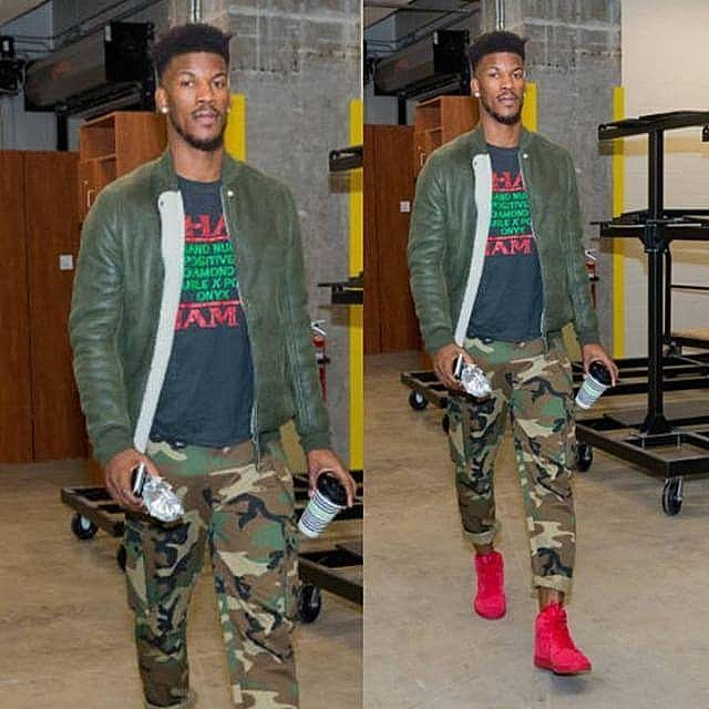 86f7e51edc8159 #NBA star #JimmyButler rocking #RickOwens leather bomber jacket  #Ovadiaandsons camo pants and #Nike sneakers for recent game. DOUBLE TAP if  you're a fan of ...