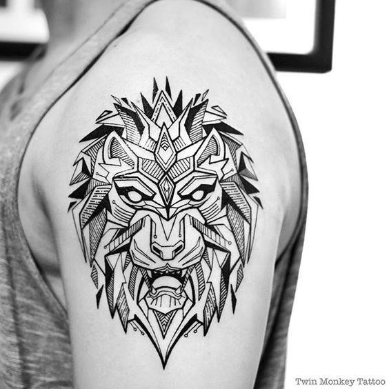 Geometric Tattoos Lion And Tattoo Patterns On Pinterest Monkey Tattoos Geometric Lion Tattoo Tribal Lion Tattoo