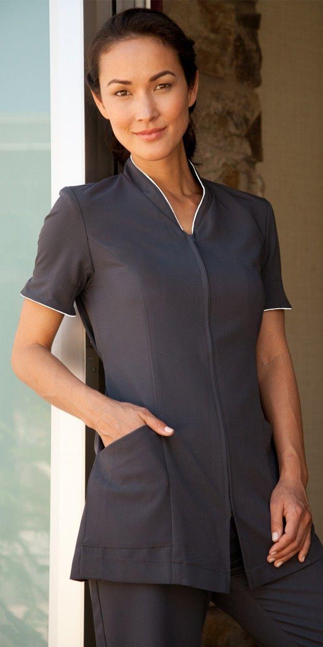 Pravia short sleeve charcoal w white piping spa for Spa uniform fashion