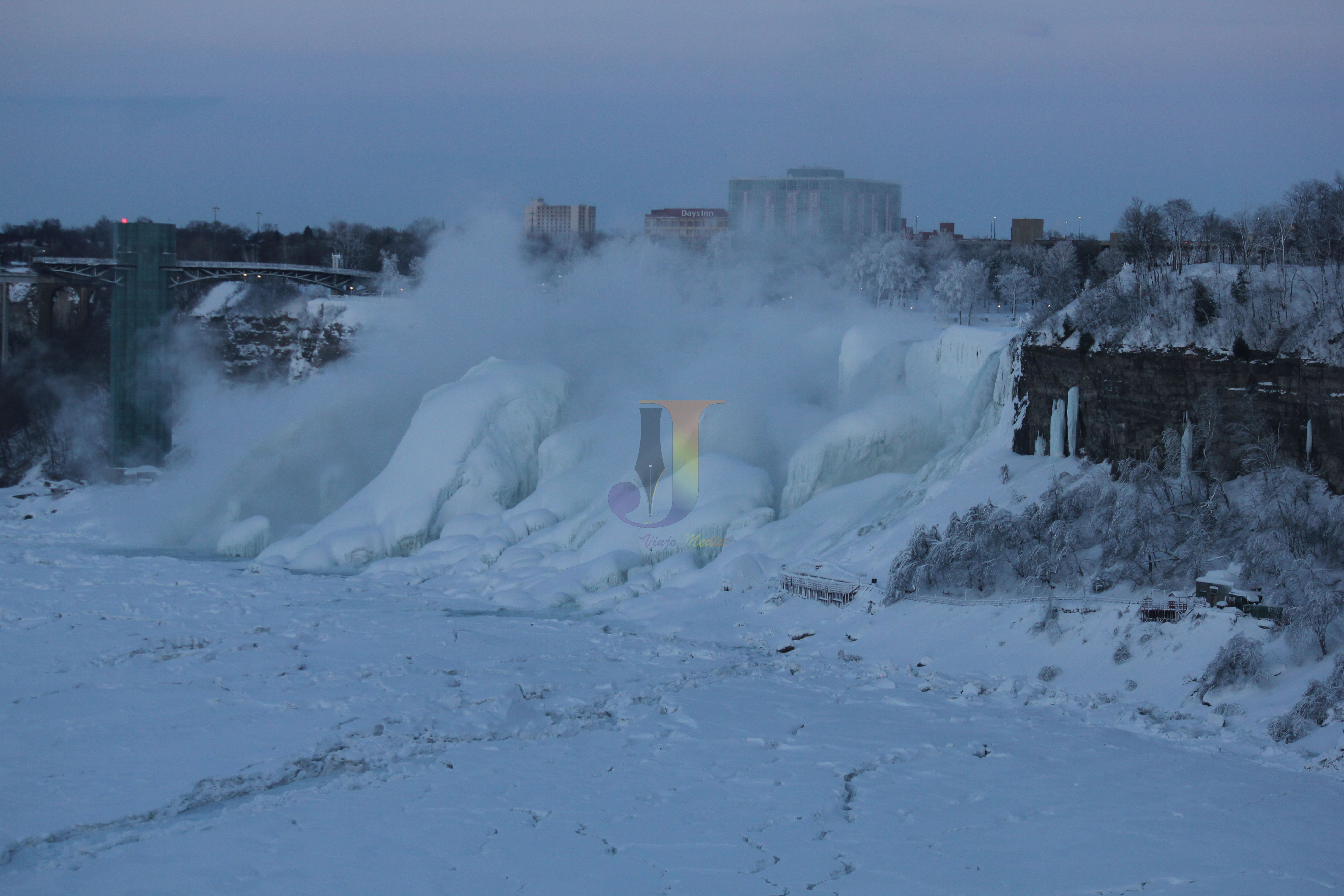 Frozen waterfalls of the US side at Niagara. Usually the boat ride at Niagara goes through this area which is literally frozen now! Picture by Vinod John (www.vinjomedia.com)