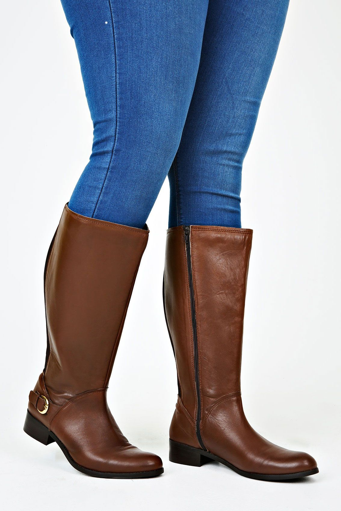 get online release info on latest discount Brown Leather Knee High Riding Boots With Buckle Trim & XXL Calf ...