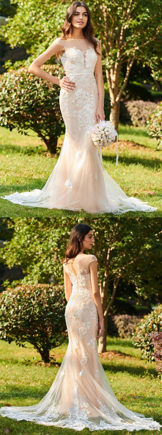 Mermaid tulle appliques wedding dress wedding weddingdress