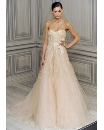 74cc409ad78c6 Monique Lhuillier wedding dress, blush-colored Style: Candy This blush- colored tulle gown is romanticized with intricately embroidered details.  Style: Candy