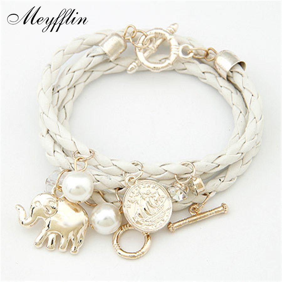 Bracelets for women charm bracelets bangles pu leather men jewelry