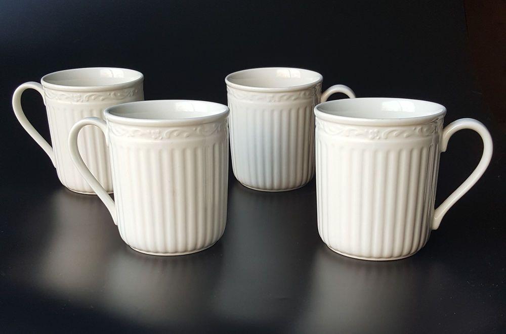 Mikasa Italian Countryside White 4 Coffee Mugs Dd900