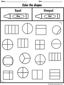 Fraction Worksheets And Activities For Grade 1 And 2 Distance Learning Fractions Worksheets Math Fractions Worksheets First Grade Math Worksheets