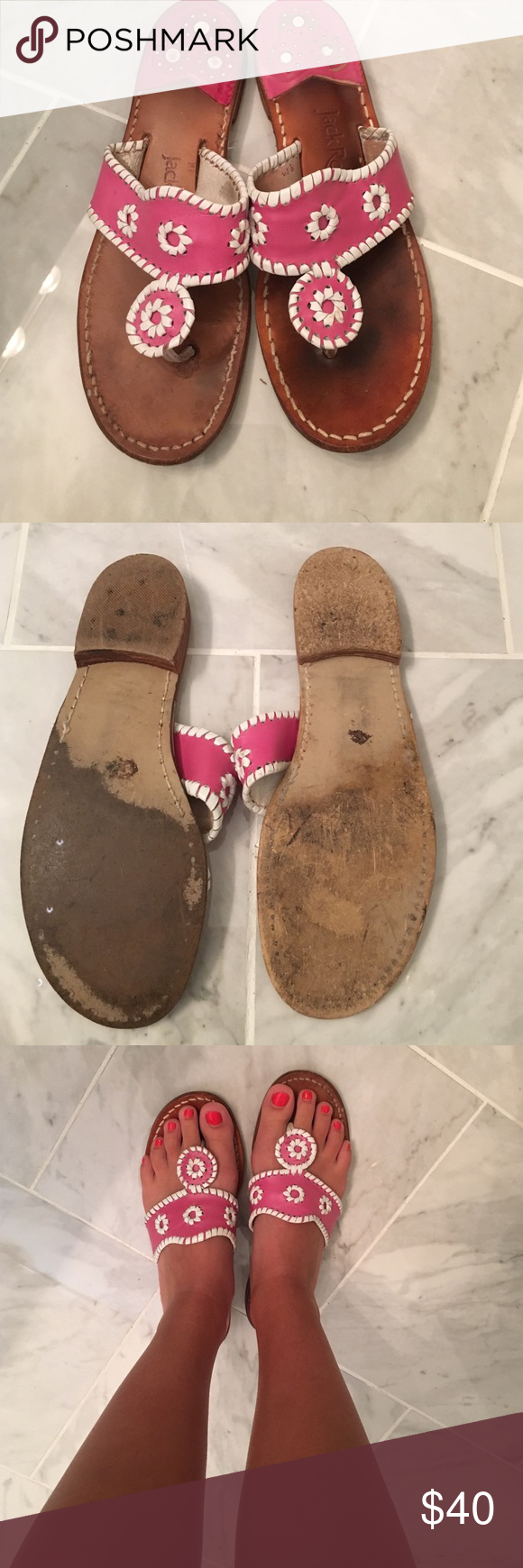 Pink Jack Rogers well worn, but lots of life left in them! right one slightly larger than left. Jack Rogers Shoes Sandals