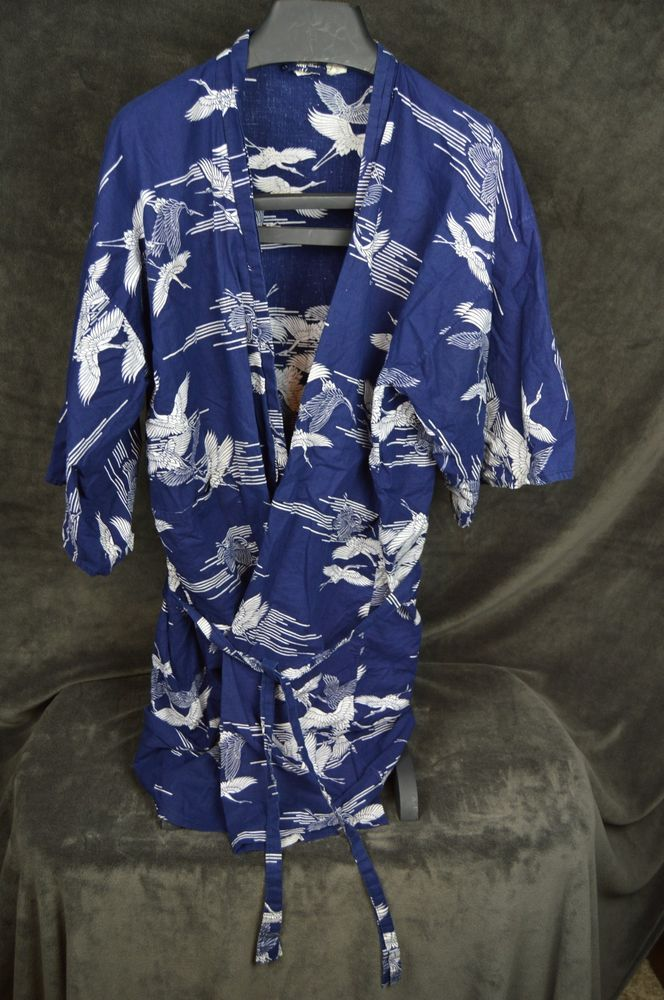 smithsonian institution blue medium m kimono japanese cranes belted