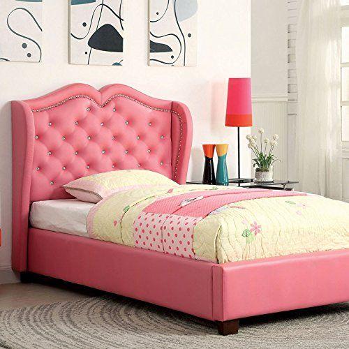 Monroe Contemporary Style Pink Finish Leatherette Full Size Bed Frame Set Upholstered Beds Upholstered Platform Bed Bed Furniture