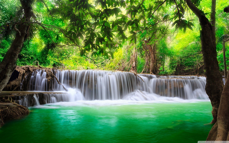 2880x1800 Green Tropical Waterfall 4k Hd Desktop Wallpaper For 4k Ultra Hd Waterfall Wallpaper Waterfall Relaxing Music
