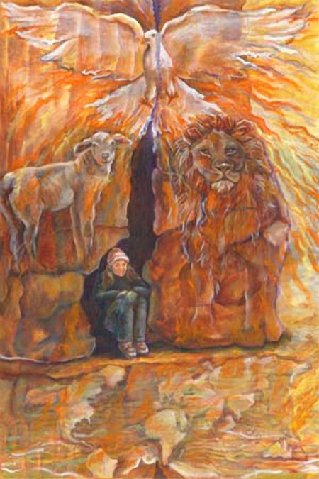 Woman In the cleft of the rock, surrounded by Lion of Judah, lamb and Holy Spirit Dove. You are safe with God. Prophetic… | Prophetic  art, Worship art, Biblical art