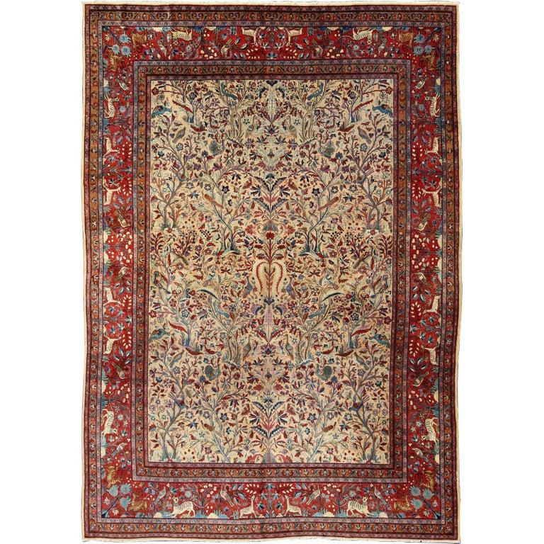Antique Persian Manchester Kashan Rug With Forest Garden Design Kashan Rug Rugs On Carpet Rugs