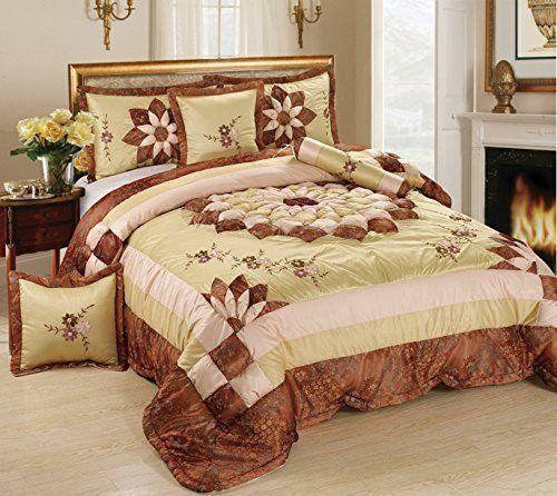 Tache 6 Piece Solid Floral Elegant Luxury Light Pink Satin Bedding Comforter Set
