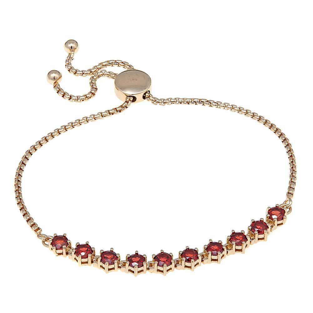 Sevilla Silver™ with Technibond® Adjustable Garnet Bracelet