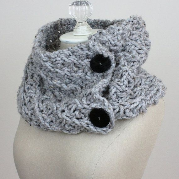 Hand Knit Cowl Shoulder Warmer / Asterisque / Grey by phydeaux, $85.00