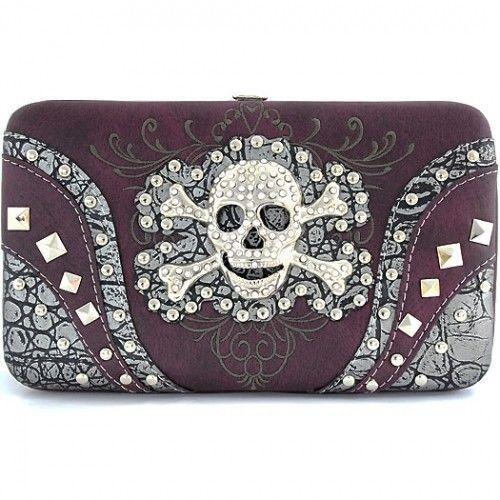 NEW Women's Dark Purple Western Skull head & Crossbones Wallet~ Most Popular #Unbranded #Clutch
