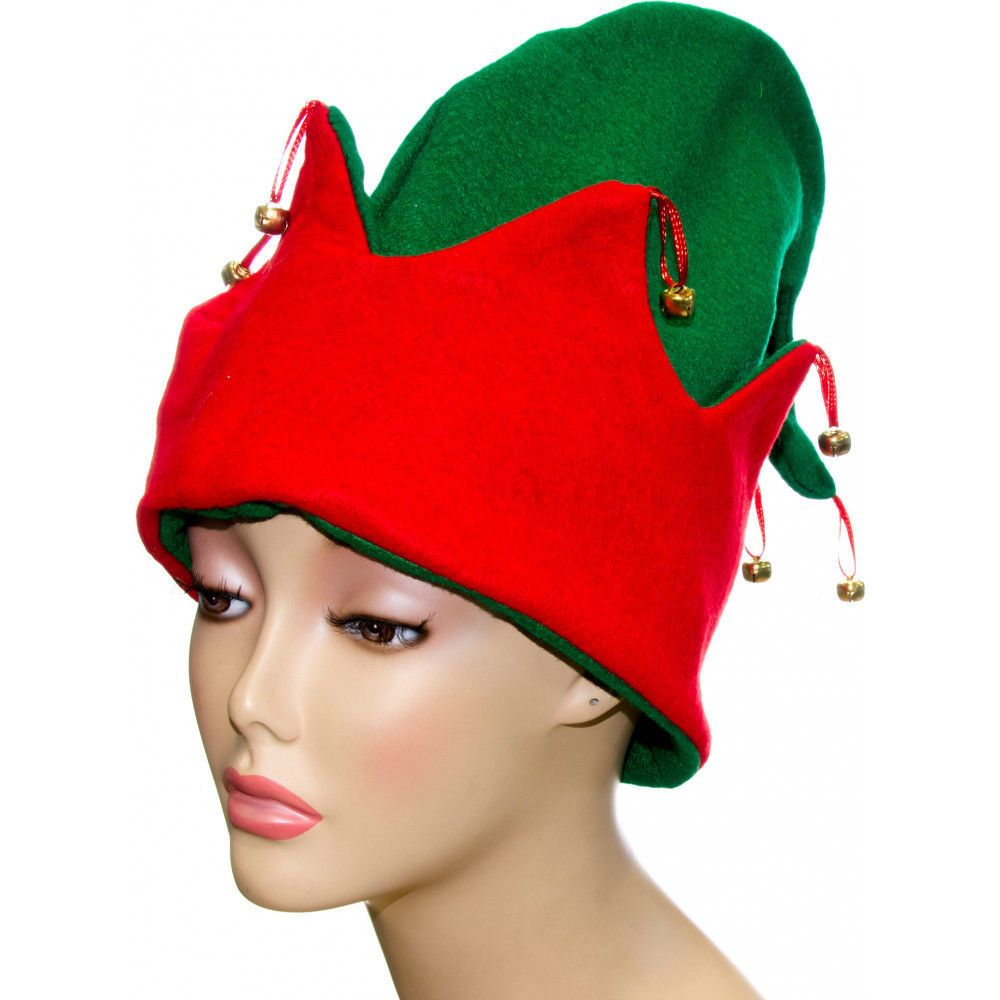 b4d4e03d795b2 Elf Hat Traditional Bright Green with Bright Red Rim Adult Felt Gold Bells   Jacobson  FloppyElf