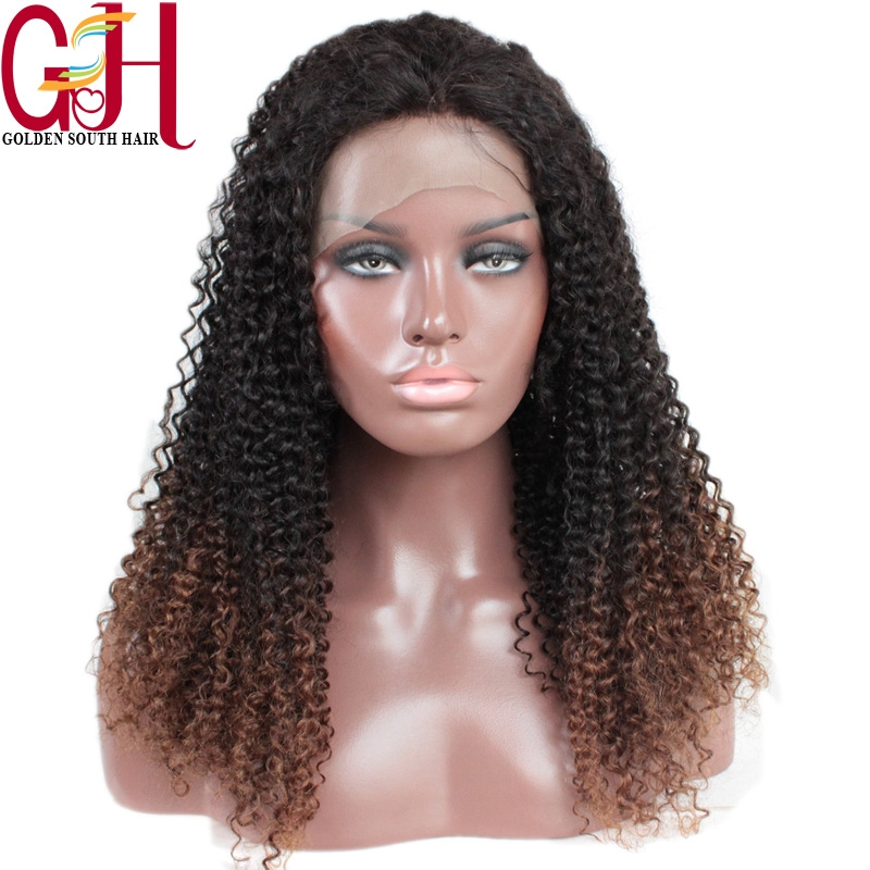 149.00$  Watch here - http://aliykt.worldwells.pw/go.php?t=1953993184 - Brazilian Virgin Hair Two Tone Ombre Full Lace Wig/Remy Lace Front Wigs Glueless Kinky Curly Human Hair Wigs With Bleached Knots 149.00$