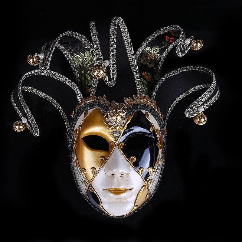 Smiling Venetian Jester Joker Full Face HALLOWEEN Masquerade Wall Decorative Mas