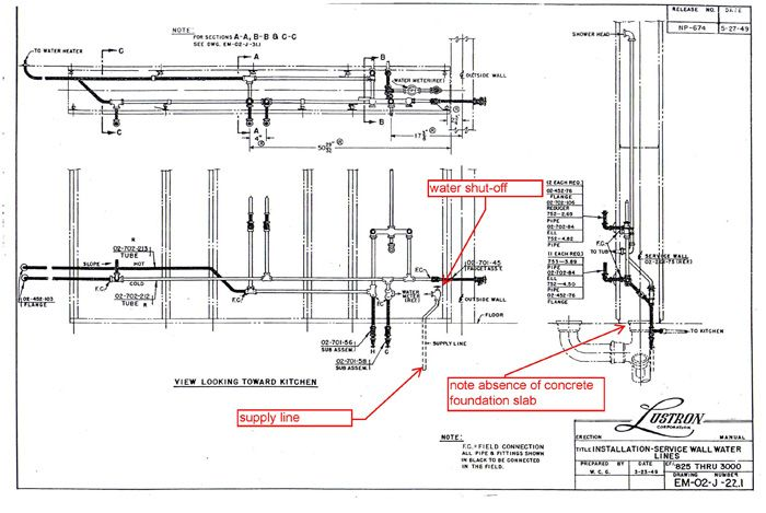 Lustron Water Lines Schematic Drawing Prefab Homes Schematic Drawing Vintage House