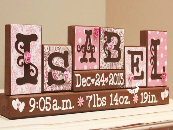 Hey i found this really awesome etsy listing at httpsetsy baby name personalized blocks unique baby gift birth stats sign name letter blocks childs room decor 6 letters first name negle