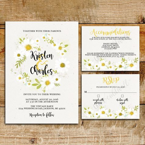 Daisy Wedding Invitation Suite White Daisies Printable Invitations By Cardsbycaldwell On Etsy Stationary Pinterest