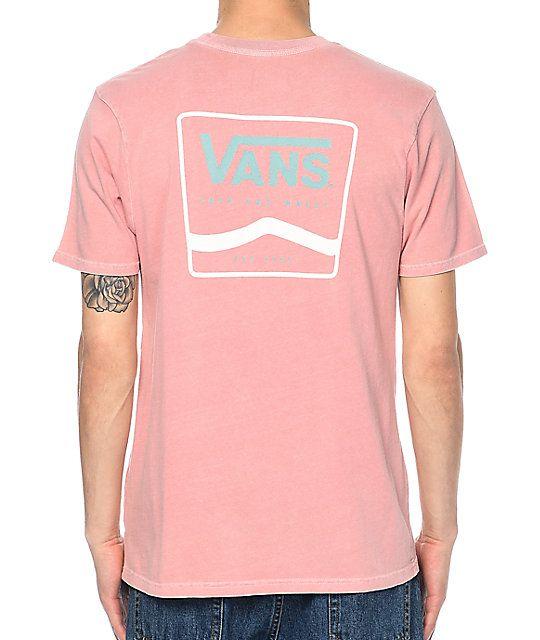 f37d603a6fbf Vans White & Blue Side Stripe Rose Dyed T-Shirt in 2019   Vans off ...