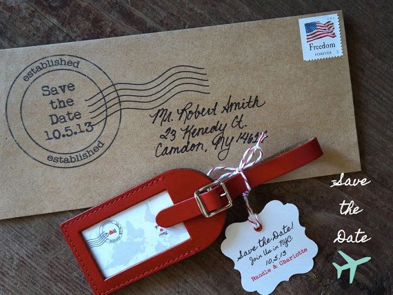 This Ship-A-Save the Date luggage tag includes a personalized favor ...