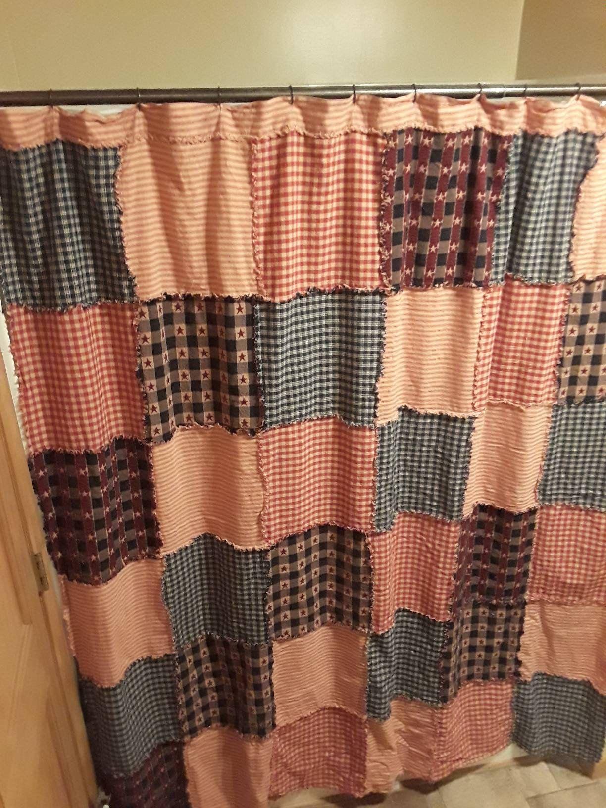 Primitive Americana Shower Curtain Homespun Rag Quilt Etsy