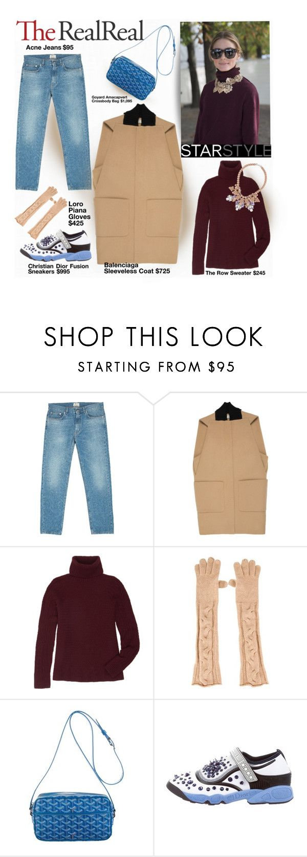 """""""Fall Style With The RealReal: Contest Entry"""" by piedraandjesus ❤ liked on Polyvore featuring Acne Studios, Balenciaga, The Row, Loro Piana, Goyard, Christian Dior and Ek Thongprasert"""