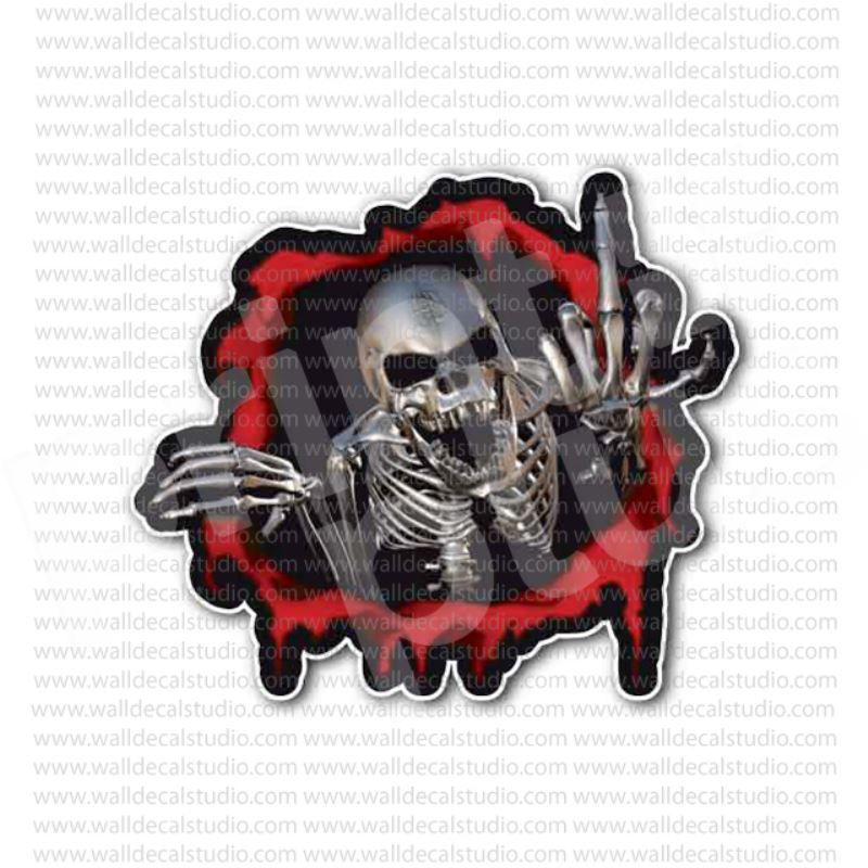 Skull flipping the bird middle finger sticker
