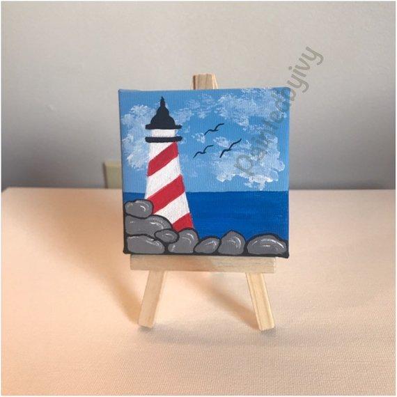 3 X 3 Acrylic Mini Painting Lighthouse Mini Canvas Acrylic Painting Painting Miniature Decor Small Canvas Art Small Canvas Paintings Mini Paintings
