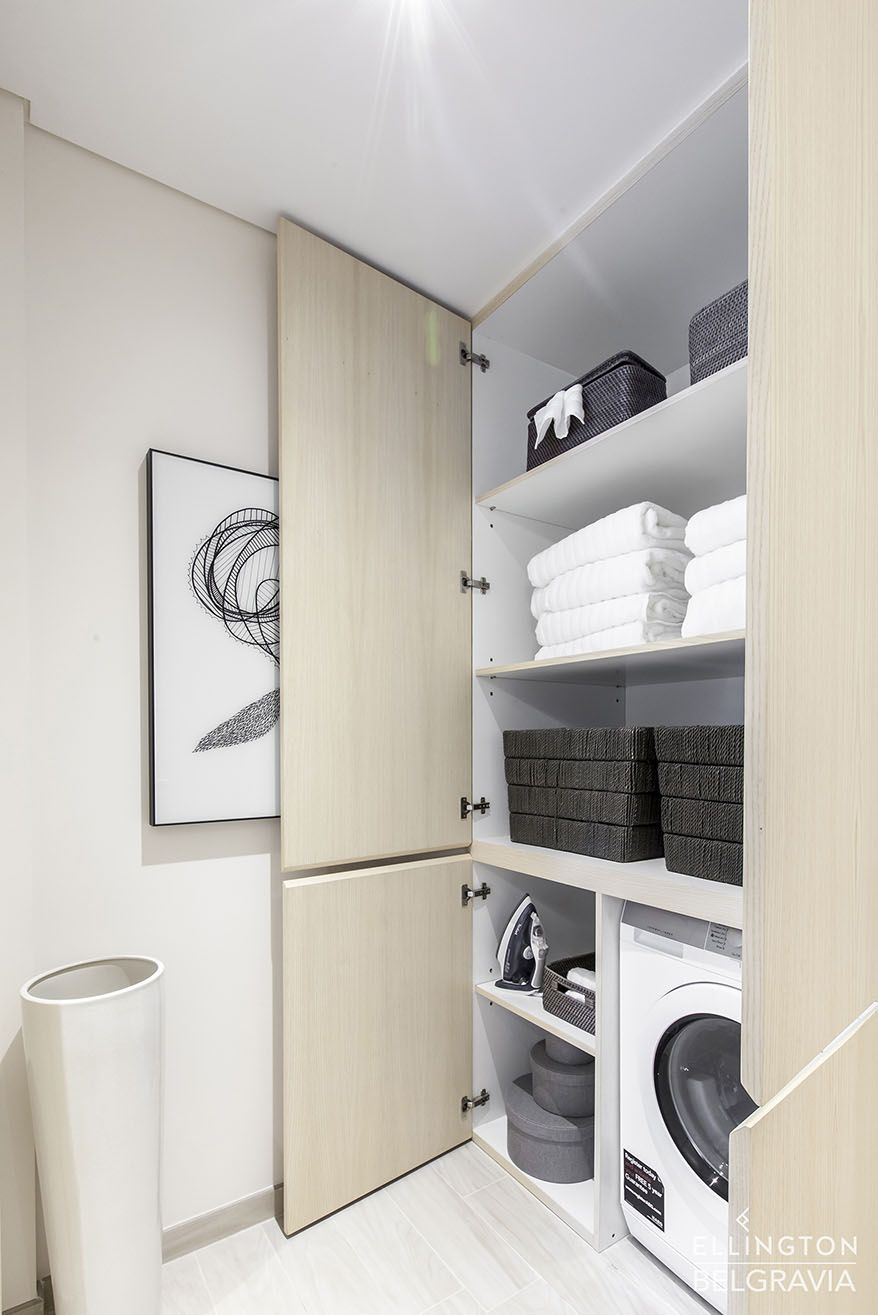 Belgravia 1 Show Apartment Laundry Cupboard Built To Look Like Wall Panelling This Space Features Ample Storage Fo In 2020 Apartment Laundry Apartment Luxury Property