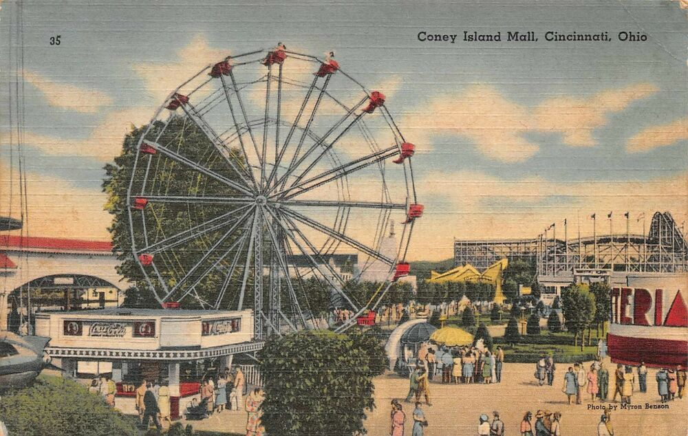 1959 CONEY ISLAND AMUSEMENT PARK FERRIS WHEEL RIDE COASTER PHOTO CINCINNATI OHIO
