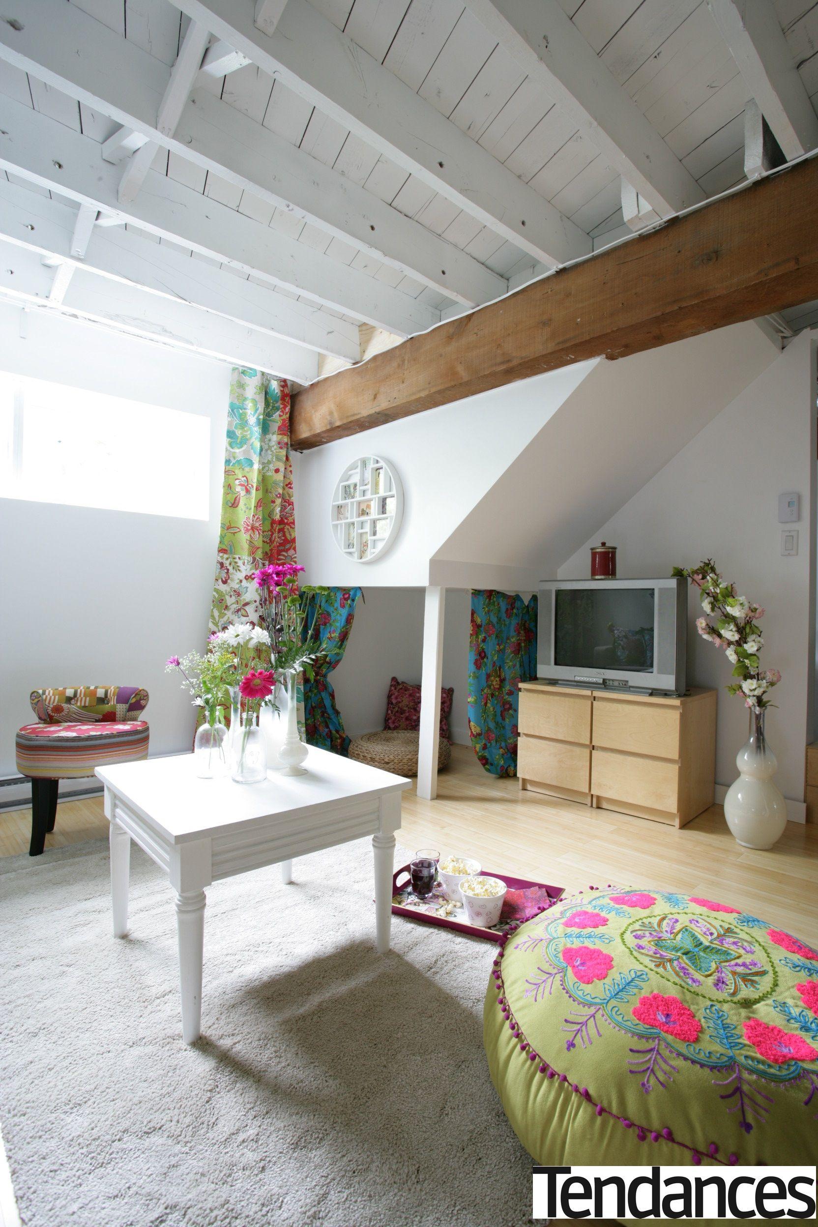 déco style bohème sous sol poutre apparente   Idées de plafond ...