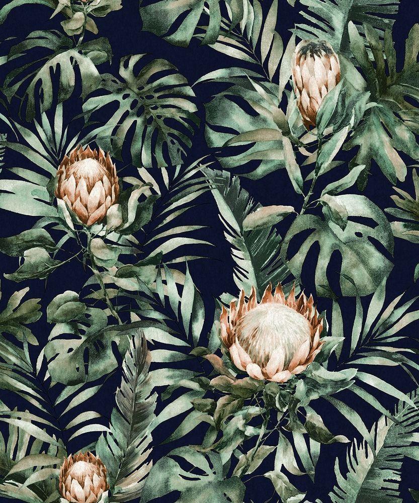 Tropical Palm Holden Decor Glasshouse Protea Floral Navy