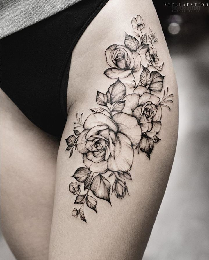 40 elegant unique flower thigh tattoos design for women – page 3 of 40