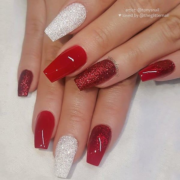 Classy Red With Red And Silver White Glitter On Coffin Nails Set Coffinnails Rednails Glitternails Pr Red Nails Glitter Coffin Shape Nails Christmas Nails