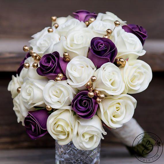 Purple Wedding Bouquet Gold Bridal Bouquet Purple And Gold